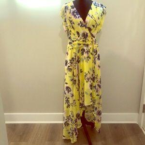 Eliza J V-neck Chiffon Dress